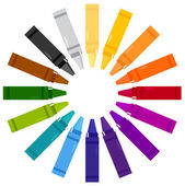 Colorful crayons in circle isolated on white — Stock Vector
