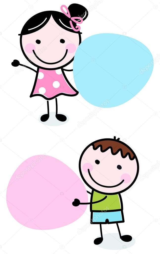 Doodle boy and girl holding blank banners — Stock Vector ...