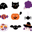 Halloween icon set isolated on white — Stock Vector
