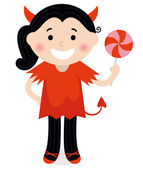 Cute little Devil Girl in red costume isolated on white — Stock Vector