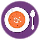 Halloween pumpkin orange soup in circle — Stock Vector