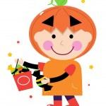 Pumpkin halloween boy isolated on white — Stock Vector #14175907