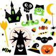 Halloween elements set isolated on white — Stock Vector