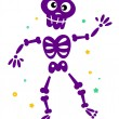 Cute dancing skeleton isolated on white — Stock Vector