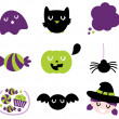 Halloween icon set isolated on white - Stock Vector