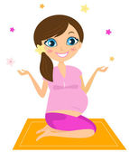 Pregnant yoga woman juggling with flowers — Stock Vector