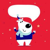 Cute cartoon polar bear with speaking bubble — Stock Vector