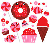 Cute strawberry candy set - red and pink — Stock Vector