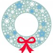 Stock Vector: Christmas wreath with ribbon isolated on white