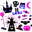 Stock Vector: Halloween elements set isolated on white