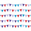 Colorful christmas bunting isolated on white — Stock Vector