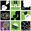 Nine halloween square icons collection — Stock Vector