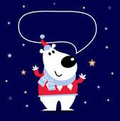 De dibujos animados lindo oso polar con el discurso burbuja — Vector de stock