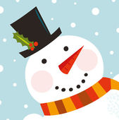 Cute happy Snowman face with snowing background — Stock Vector