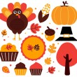 éléments de design coloré thanksgiving isolés sur blanc — Image vectorielle