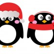 Cute penguin set isolated on white — Stock Vector