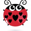 Love ladybug with hearts isolated on white — Stock Vector