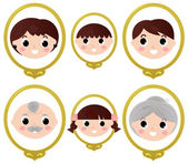 Family members vintage photos isolated on white — Stock Vector