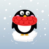 Cute winter penguin on sparkling iceberg — Stock Vector