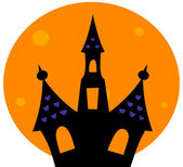 Halloween Haunted house with moon behind — Stock Vector