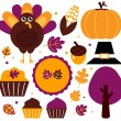 Colorful thanksgiving set isolated on white — Stock Vector #15841391