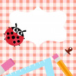 School blank banner with Ladybug and accessories — Stock Vector