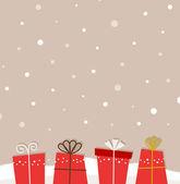 Retro navidad nieve fondo con regalos — Vector de stock
