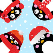 Cute penguins in circle on snowing background — Stock Vector