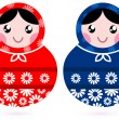 cute russian matreshka dolls - red and blue — Stock Vector