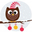 Cute christmas owl sitting on the branch — Stock Vector