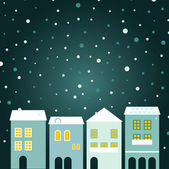 Cidade de natal no fundo a nevar — Vetorial Stock