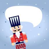Cartoon kerstmis notenkraker met lege tekstballon — Stockvector