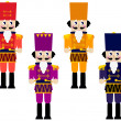 Colorful retro Nutcrackers set isolated on white - Stock Vector