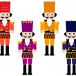 Colorful retro Nutcrackers set isolated on white - Image vectorielle