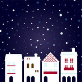 Weihnachten stadt schneit hintergrund — Stockvektor