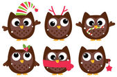 Cute cartoon christmas Owls set isolated on white — Stock Vector