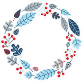 Christmas retro holiday wreath isolated on white — Stock Vector