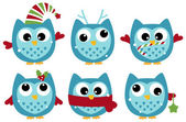 Cute winter owl collection isolated on white — Stock Vector