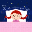 Cute little dreaming girl in bed with sky in the background — Stock Vector