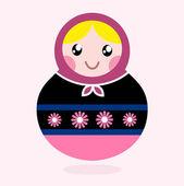 Traditional Russia doll, Matrioshka - pink and black — Stock Vector