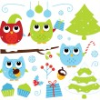Christmas cartoon owls and decoration set isolated on white — Stock Vector