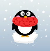 Cute winter penguin on sparkling iceberg — 图库矢量图片