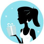 Silhouette donna bella con dono isolato su blu — Vettoriale Stock