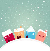 Colorful winter houses on hill with snowing behind — Stock Vector