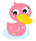 Cute little pink rubber duck isolated on white — Stock Vector