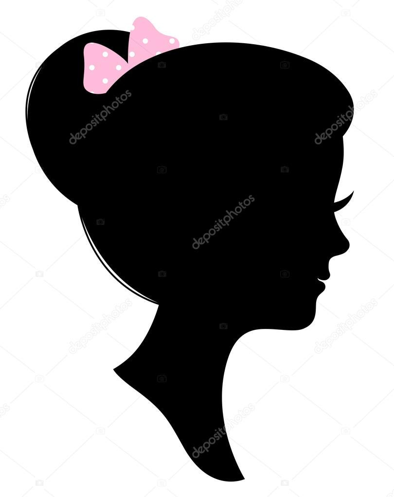 Vintage woman head silhouette isolated on white stock illustration