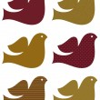 Retro dove set isolated on white ( brown ) — Stock Vector