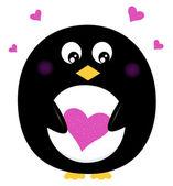 Sevimli penguen pembe kalp üzerinde beyaz izole holding — Stok Vektör
