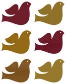 Retro dove set isolated on white ( brown ) — Stock Vector