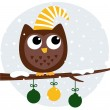 Cute retro owl sitting on the branch - Stock Vector